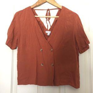 WAREHOUSE Short Sleeve Button Up Crop Top Orange 6
